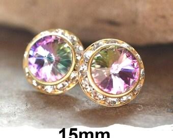 Vitrail Light & Gold Studs, 15mm Halo Earrings, Swarovski,  Rhinestone Stud Earrings, VL Crystal Studs, Large Studs