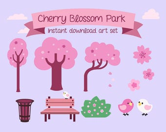 Cherry Blossom Park Clip Art Set - Cute Cartoon Graphics for Personal and Commercial Use