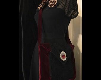 Vintage inspired black and red velvet purse