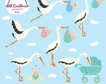 Storks clipart, baby clipart, baby shower clipart, vector clipart, vector graphics CL056