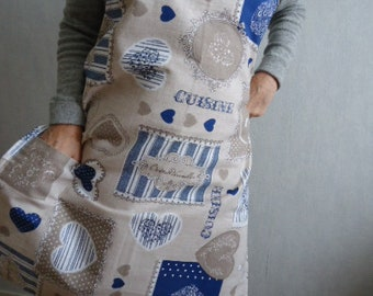 Blue hearts and inscriptions woman apron kitchen - apron blue and beige