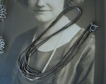 Vintage Liquid Silver Sterling Multi Strand Bead Necklace, 5 Strand Liquid Silver Necklace, Southwestern Necklace