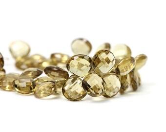 Golden Quartz Faceted Heart Briolette 1 Briolette Dark Citrine Golden Semi Precious Gemstone