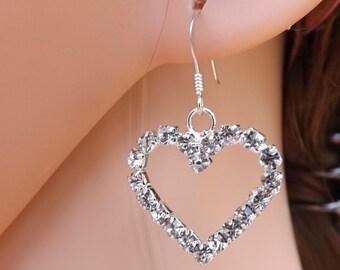 Rhinestone diamante heart earrings with sterling silver ear wires