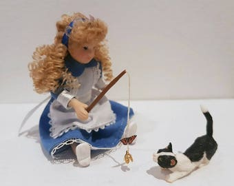 Dollhouse - Toy with butterfly for miniature cats