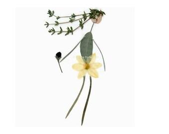 Pressed flower art of a dancing girl - Blank botanical greeting card - Garden notecard - Crabapple, Thyme, Sage, Bleeding Heart - Oshibana