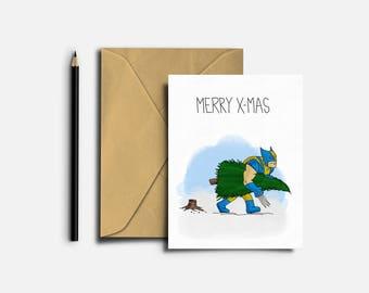 X-Men Christmas Card, X-Men Holiday Card, Wolverine Christmas Card, Wolverine Holiday Card, Funny Card, Humorous Card
