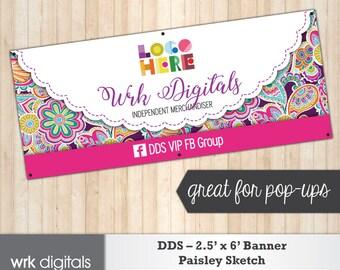 Dot Dot Smile Banner, 2.5'x6' Banner, Paisley Sketch Design, Pop-Up Sign, Boutique Signage