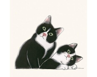 "Cat Wall Art  illustration tuxedo cat print  4 for 3 SALE Didier and Leon  - 8.3"" X 11.7""  animal portrait"