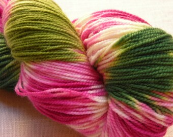 Fireweed Hand-Painted Superwash Merino and Nylon Blend Fingering Weight Sock Yarn -- Bright Pink, White, and Green