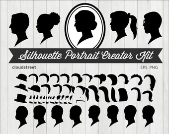 BUY 2 GET 1 FREE Silhouette Portrait Creator Kit Clip Art - Custom Cameo Silhouette Clipart - Face Profile Silhouette - commercial use ok