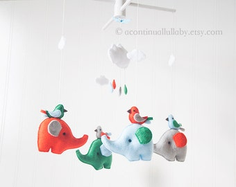 Elephant and Birds Baby Mobile, Blue Grey Orange Kelly Green, Cloud Mobile, Cloud and Rain, Raindrop Mobile, Cloud Nursery