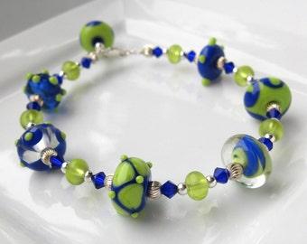 Cobalt and Lime Lampwork Bracelet