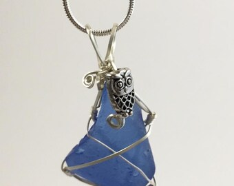 Blue Sea Glass Wire Wrapped Pendant
