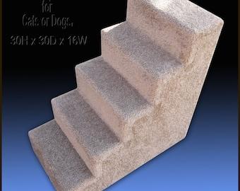Sturdy Dog Steps, 30'H x 16'W x 30'D.