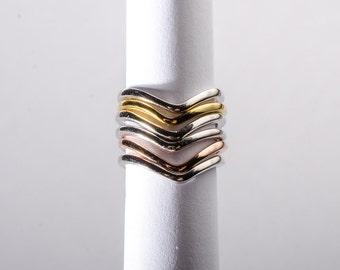 Chevron Midi-Knuckle Adjustable Ring- choose your finish