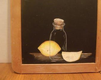 Blackboard with Hand-painted lemons