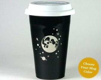 Full Moon and Stars Travel Mug - insulated lidded coffee cup