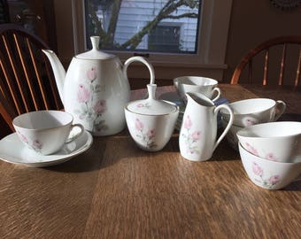 Verbano Industria Argentina-ROSE tea set- teapot, six cups, saucers, sugar & creamer