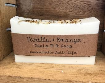 Vanilla + Orange Goat's Milk Soap garnished with Elder Flower | Handmade | Gift for Her | Made to Order