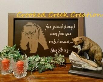 14 x 21 Framed, hand painted, bear sign