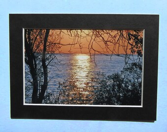 Matted 4x6 Beach Fine Art Print Photography, Signed Artwork, Small Wall Art Home Decor Lake Erie Kelleys Island Sunrise