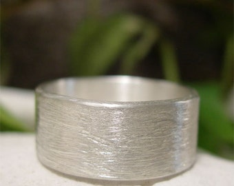 Brushed Silver Ring, Hand Forged Sterling Silver, Simple Contemporary Wedding Ring, Wide Band Ring, Mens or Womens Silver Wedding Band