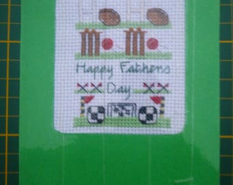 X Stitch Card Kit FATHERS DAY Sport with Card and Envelope Sewing Kit, Threads Pattern and Aida too