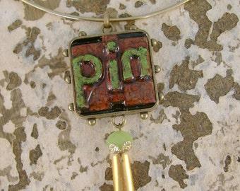"Pin Pal - Antique Letter Press Blocks ""PIN"" Bezel Vintage Pen Nib Recycled Repurposed Necklace"