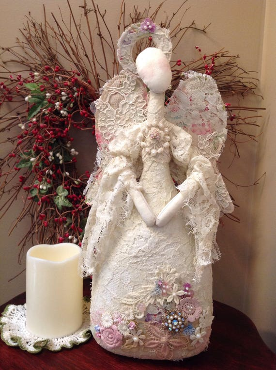 Lady Marion Angel, Renaissance, Victorian, Lace and fabric art doll