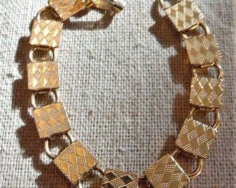 Vintage Mod Square Link Bracelet 1960's Gold Filled