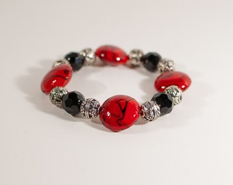 Red, Black & Silver Beaded Stretch Bracelet