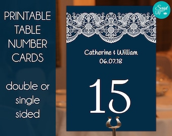 Navy Table Number Cards Templates | Easy To Edit and Print | Lace | Navy Blue | White Lace  | FREE Color Changes | Pc & Mac | 5 x 7.25""