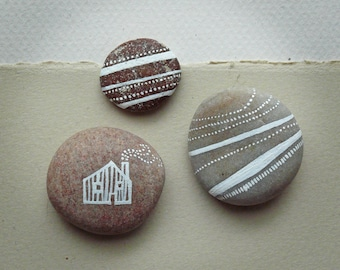 Hand Painted Pebbles - House and Earth Stripes Set of 3 - MADE TO ORDER
