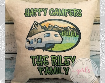 Happy Campers, Camping Pillow, 5th Wheel Trailer Pillow, Personalized Pillow, Family Name Pillow, Father's Day Gift, Trailer Camping