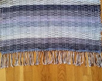 """Rag Rug Runner Blue Ombre Vintage Woven Rag Rug 58 1/2"""" x  27""""  Handmade Woven Rag Rug"""