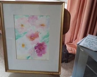Large Original Watercolour Pink Flowers