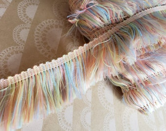 """Pastel Polyester Fringe Trim - Blue Yellow Peach Green - 1 1/2"""" Wide - 4 Yards"""