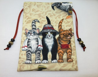 "Three Cats, Silk Lined Tarot Card Pouch, Tarot Card Bag 5"" x 7"""