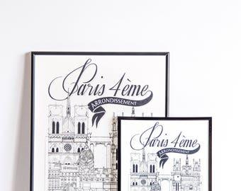 Paris IV / 32x45 cm / Docteur Paper / Travel With Me / Illustration /Voyage / Affiche /Ville / Décoration murale /Noir et Blanc/ Map /Design