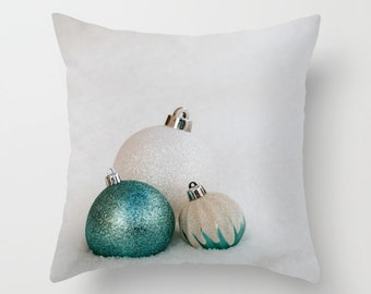 Teal Christmas Decorations, Holiday Pillow Cover, Turquoise Winter Home Decor, Snow Themed Office Lounge Cushion Case, Hostess Gift Idea