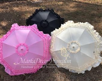 Medium Wedding Parasol Bridal Umbrella with Multi Layers of Gorgeous Fabric 1pc