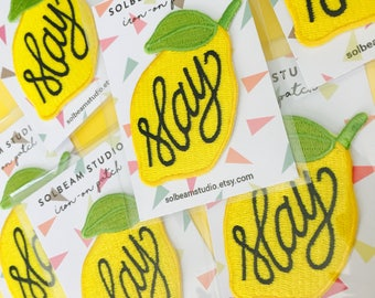 """Lemon """"Slay"""" Beyonce-inspired embroidered iron-on patch"""
