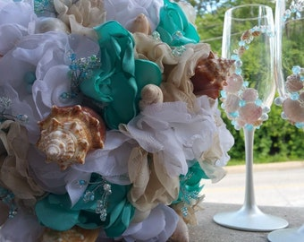 Seashell Beach Wedding Bouquet+Set of 2 Champagne Glasses+Boutonniere+Corsages