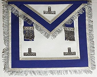 Centennial/Canadian MM/PM Worshipful Navy Blue  with Silver Fringe Apron