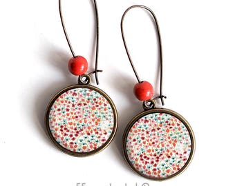 Earrings cabochon flowers, poppies, floral, PEP, colorful, nature
