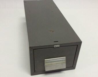 Distressed 50s Vintage Industrial Metal Library File Box