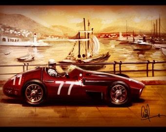 1957 Maserati Vintage Grand Prix Car Monaco Race Track 8x12 Metallic Print