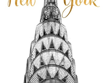 New York Print, Black and White Print, Gold Foil, Typography Print, New York City Art Print, Chrysler Building, Large NYC Poster
