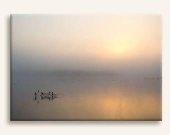 Cranes at sunrise - Minimalist photography print on canvas - Sunrise nature photography print - Framed art print - Wedding gift idea